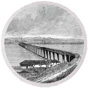 Tay Rail Bridge, 1879 Round Beach Towel