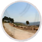 Taybeh Side Road Round Beach Towel