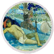 Te Arii Vahine .the Queen Of Beauty Or The Noble Queen. Round Beach Towel