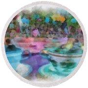Tea Cup Ride Fantasyland Disneyland Pa 01 Round Beach Towel