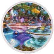 Tea Cup Ride Fantasyland Disneyland Pa 02 Round Beach Towel