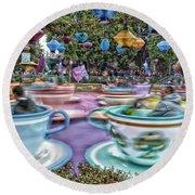 Tea Cup Ride Fantasyland Disneyland Round Beach Towel by Thomas Woolworth