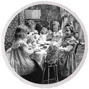 Tea Party, C1902 Round Beach Towel