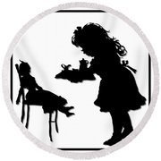 Tea Party Dolly Silhouette Round Beach Towel