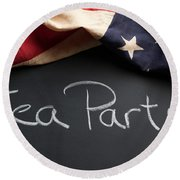 Tea Party Political Sign On Chalkboard Round Beach Towel