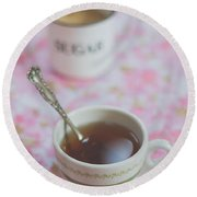 Tea Time In Pink Round Beach Towel