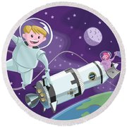 Tea Time Space Walk Round Beach Towel