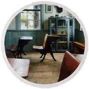 Teacher - One Room Schoolhouse With Clock Round Beach Towel by Susan Savad