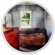 Teacher - One Room Schoolhouse With Hurricane Lamp Round Beach Towel by Susan Savad