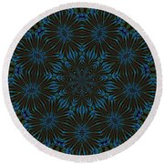 Teal And Brown Floral Abstract Round Beach Towel
