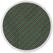 Teal And Green Diagonal Plaid Pattern Fabric Background Round Beach Towel