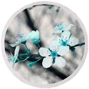 Teal Blossoms Round Beach Towel