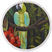 Teal Chartreuse Parrot Round Beach Towel