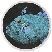 Gyotaku Triggerfish Round Beach Towel by Captain Warren Sellers