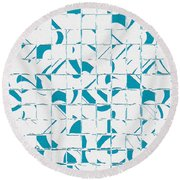 Teal Glyphs  Round Beach Towel