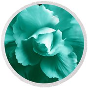 Teal Green Begonia Floral Round Beach Towel by Jennie Marie Schell