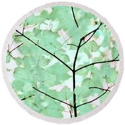 Teal Greens Leaves Melody Round Beach Towel