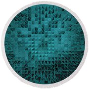 Teal Quilt Round Beach Towel
