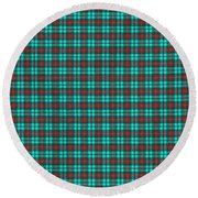 Teal Red And Black Plaid Fabric Background Round Beach Towel