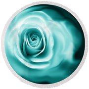 Teal Rose Flower Abstract Round Beach Towel