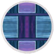 Teal Square Dreams Round Beach Towel