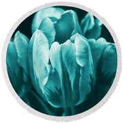 Teal Tulip Flowers Round Beach Towel