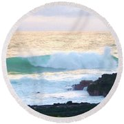 Teal Wave On Golden Waters Round Beach Towel