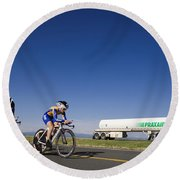 Team Time Trial Chasing A Tanker Truck Round Beach Towel
