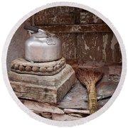 Teapot And Broom Round Beach Towel