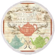 Teas And Coffees Sign Round Beach Towel