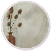 Teasels In Stone Jar Round Beach Towel
