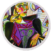 Technology And Picasso Round Beach Towel