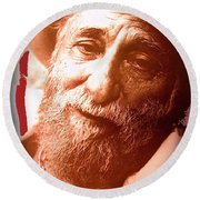 Ted Degrazia Portrait By Henry Redl Circa 1980-2013 Round Beach Towel