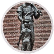 Ted Williams Statue - Boston Round Beach Towel by Joann Vitali