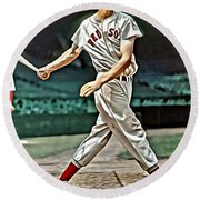 Ted Williams Painting Round Beach Towel