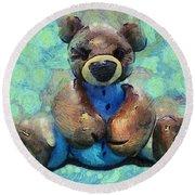 Teddy Bear In Blue Round Beach Towel