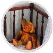 Teddy Bear In Crib Round Beach Towel