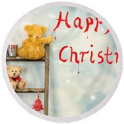 Teddy Bears At Christmas Round Beach Towel