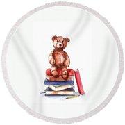 Teddy On Books Round Beach Towel