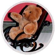 Teddy's Chair - Toy - Children Round Beach Towel by Barbara Griffin
