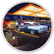 Teds Drive-in Round Beach Towel