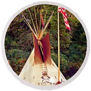 Teepee Round Beach Towel by Marty Koch