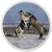 Teeth And Hooves Round Beach Towel