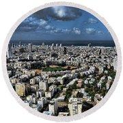 Tel Aviv Center Round Beach Towel by Ron Shoshani
