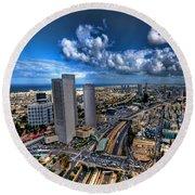 Tel Aviv Center Skyline Round Beach Towel