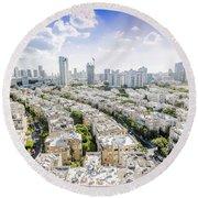 Tel Aviv Israel Elevated View Round Beach Towel