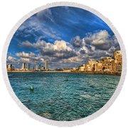 Tel Aviv Jaffa Shoreline Round Beach Towel