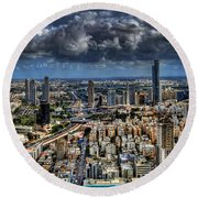 Tel Aviv Love Round Beach Towel