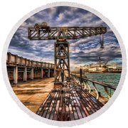 Tel Aviv Port At Winter Time Round Beach Towel