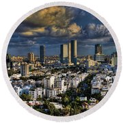 Tel Aviv Skyline Fascination Round Beach Towel